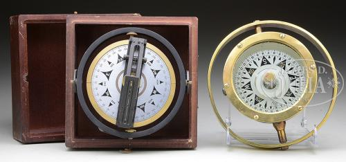 TWO SHIP'S COMPASSES.