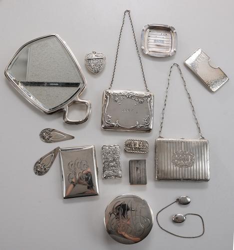 Twenty Pieces of Silver Dresser and Desk Accessories