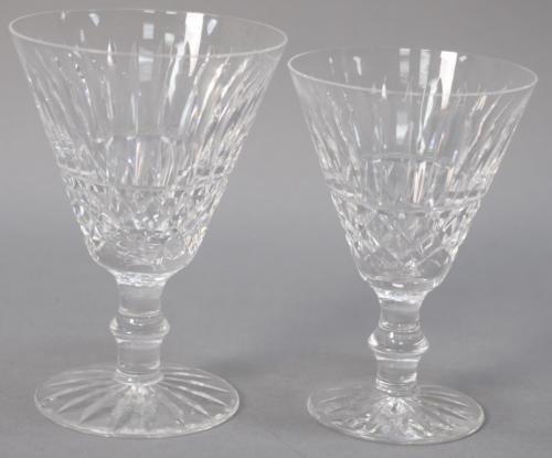 Set of waterford crystal stems in two sizes, seven large red wine stems and 8 smaller white wine. ht. 5NULL & 5 1/2NULL.
