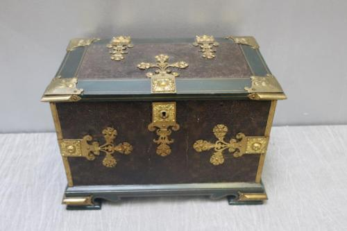 Antique Continental Leather Covered Box.