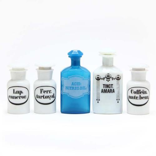 Five Milk Glass Apothecary Bottles