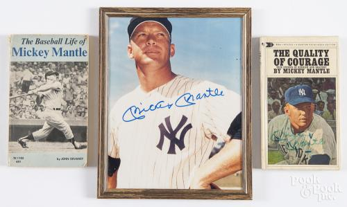 Mickey Mantle baseball items, to include a signed photograph, a signed copy