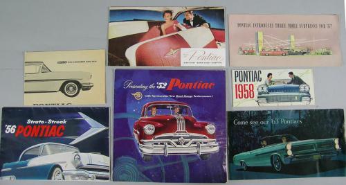 Ten Vintage Pontiac Automobile Brochures