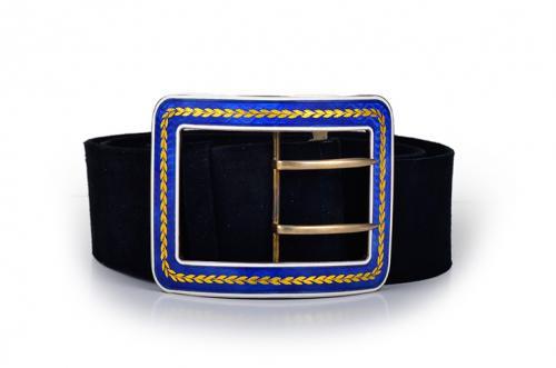 Cartier Enamel Silver Belt Buckle and Belt