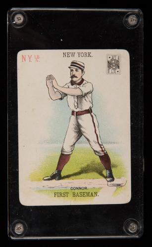 Roger Connor Baseball Card Co. Playing Card. New York, 1888. A single card, being Roger Connor, First Baseman of the New York Gothams (later New York Giants). Connor was inducted into the Hall of Fame in 1976. The deck originally consisted of 72 cards portraying each of the nine starting players for eight American baseball teams of the 1888 season. On the face of each card is a miniature card denoting value (here KS). Minor scrape in rear margin, otherwise excellent. Rare.