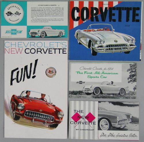 Five Vintage Corvette Automobile Brochures