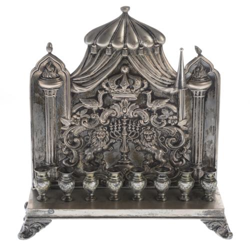 Antique Continental silver menorah