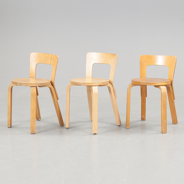 TABLES and CHAIRS. 3 pcs, Alvar Aalto, Artek, 1900 the second half.