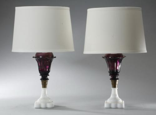 (2) Aubergine and milk glass table lamps