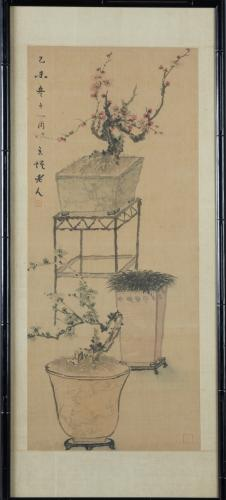 Chinese Watercolor Scroll, 20th c., depicting Bons