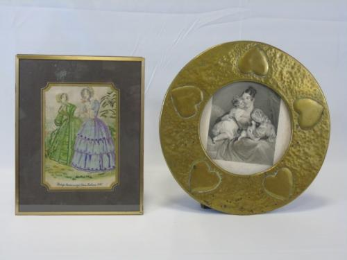 19th C. Antique Brass Frame & Fashion Embroidery