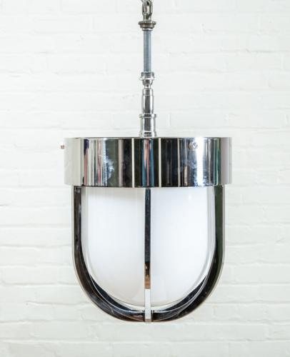 MILK GLASS AND NICKEL CEILING LIGHT