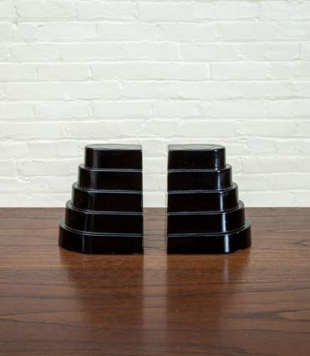 PAIR OF BLACK MILK GLASS BOOKENDS