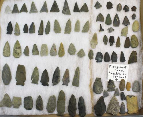 Franklin county, Vermont prehistoric lithic artifacts including arrowheads, points- Levanna, Brewert