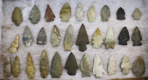 "Ohio prehistoric lithic arrowheads, points, Archaic period- 56 pcs, length 1""- 4.25"""