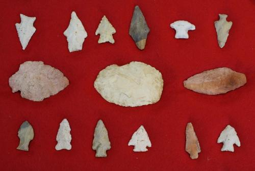 Mid-Central & South Texas prehistoric lithic artifacts including arrowheads, scrapers- 15 pcs, lengt
