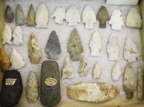 "Missouri prehistoric lithic artifacts including arrowheads, points, celt- 29 pcs, length 1.5""- 5"""
