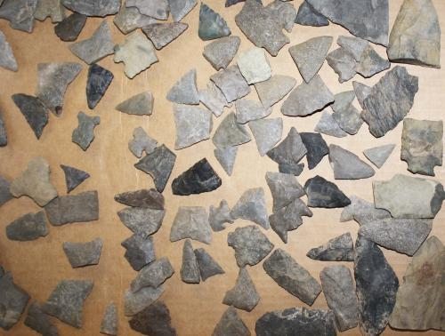 Vermont prehistoric lithic artifacts, arrowheads, points- some damaged- approximately 180 pcs