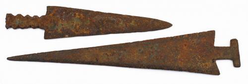 """19th c Plains Indian steel arrowheads, length 3.5""""- 5"""""""
