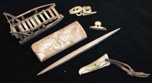9 Inuit & Native American bone & walrus tusk pieces- Siberian sled, clothing fasteners, Inuit harpoo