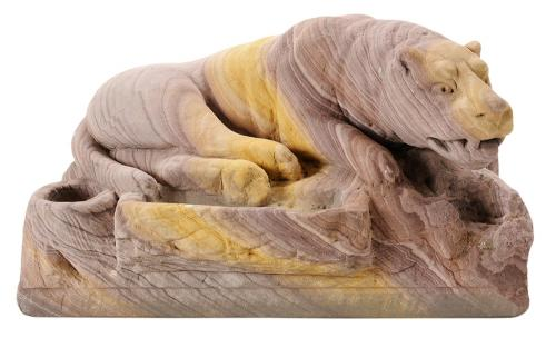 Carved Sandstone Figural, Reclinging