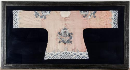 Antique Chinese Silk Embroidered Robe in Frame
