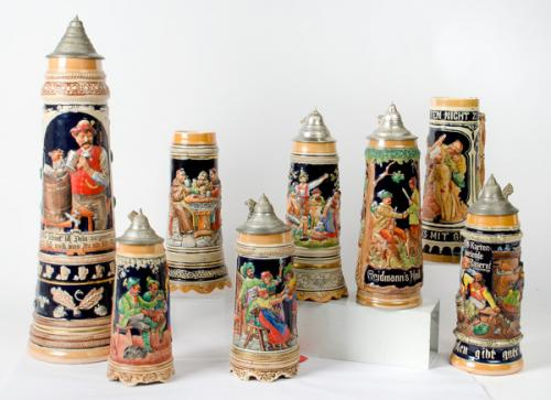 Collection of 8 Oversized Contemporary German Beer Steins