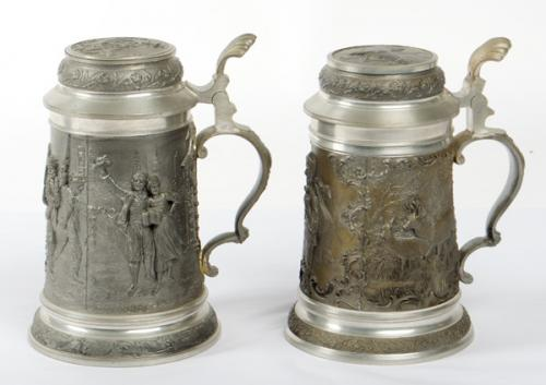 Two Contemporary German Hunting Theme Pewter Beer Steins