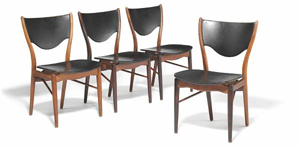 Finn Juhl: Set of four Brazilian rosewood chairs. Seat and back upholstered with patinated black leather. Manufactured by Bovirke. (4)
