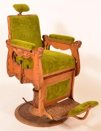 Victorian Oak and Brass Hydraulic Barber Chair.
