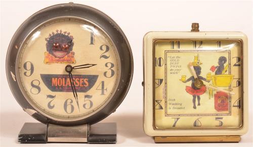 2 Advertising Black Memorabilia Alarm Clocks.