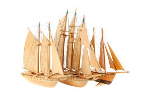 Collection of of 3 Wooden Model Ships