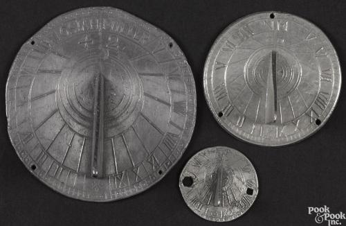 Three small pewter sundials, 18th/19th c., the largest signed Iosiah Miller, 4 1/2NULL dia.