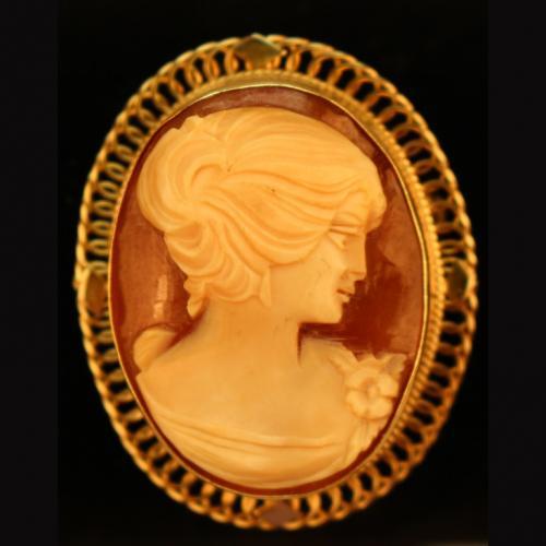 Antique Cameo Pin w/ 14k Gold Frame