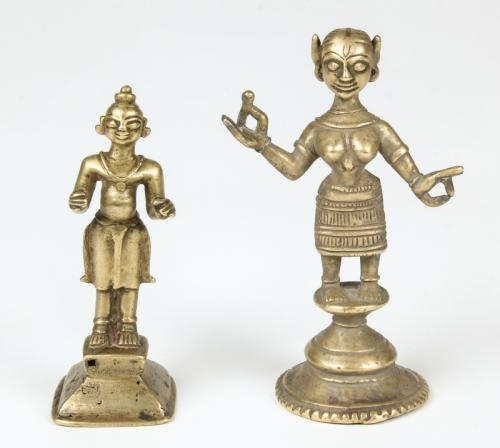 2 Bronze Radha Statues, 19th C