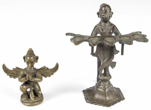 2 Bronze Statues: Garuda and Laxmi