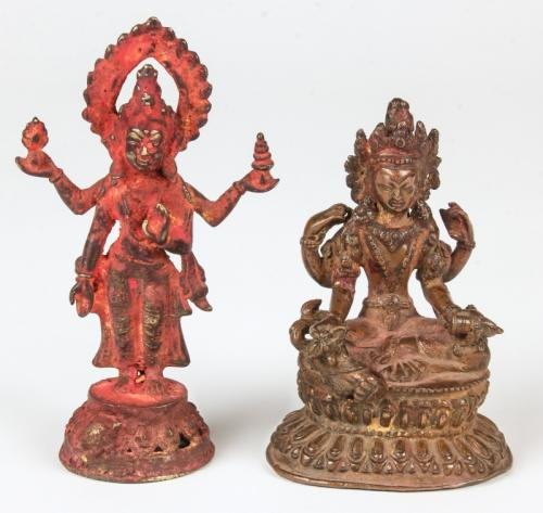 2 Bronze Laxmi Statues, 19th C.