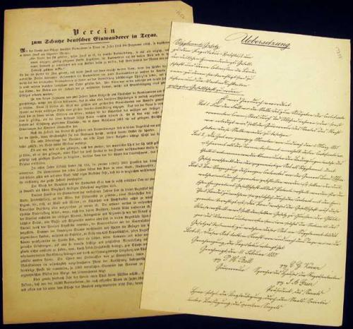 2Pcs Verein ANTIQUE DOCUMENTS OF THE SOCIETY FOR THE PROTECTION OF GERMAN EMIGRANTS TO TEXAS 1844 1850 Verein Bell Greer Promotional Pamphlet Antebellum South United States 19th Century