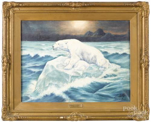 Jean Labelle (American, early 20th c.), oil on canvas of two polar bears