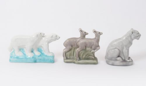 A Pilkington's Lancastrian model of two polar bears, modelled walking together, glazed in shades of