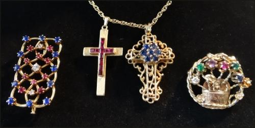 4 PCS. 14K JEWELRY W/ GEM STONES: 2 GOLD CROSSES &