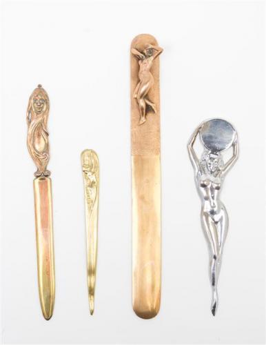 * Four Art Nouveau Letter Openers Length of longest 11 1/4 inches.