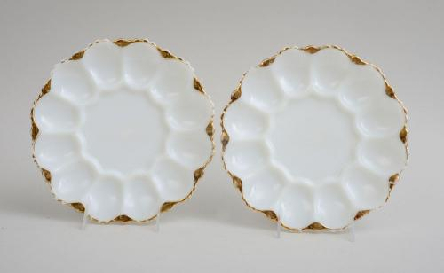 PAIR OF PRESSED MILK GLASS OYSTER PLATES