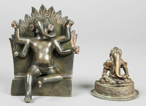 2 Bronze Statues of Ganesh, 20th c.