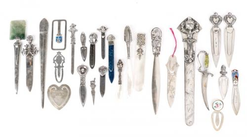 26 Sterling & Plate Letter Openers & Bookmarks