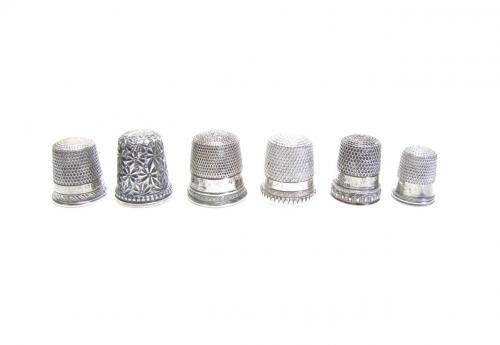 Six Antique Silver Thimbles