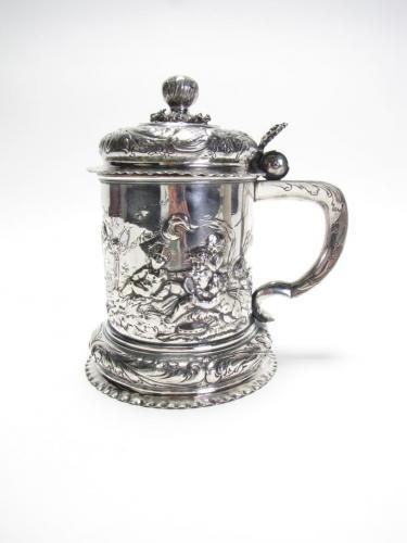 Antique Silver Lidded Tankard