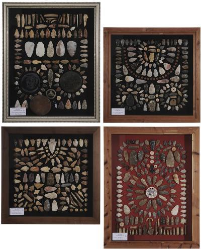 Four Framed Native American Arrowheads