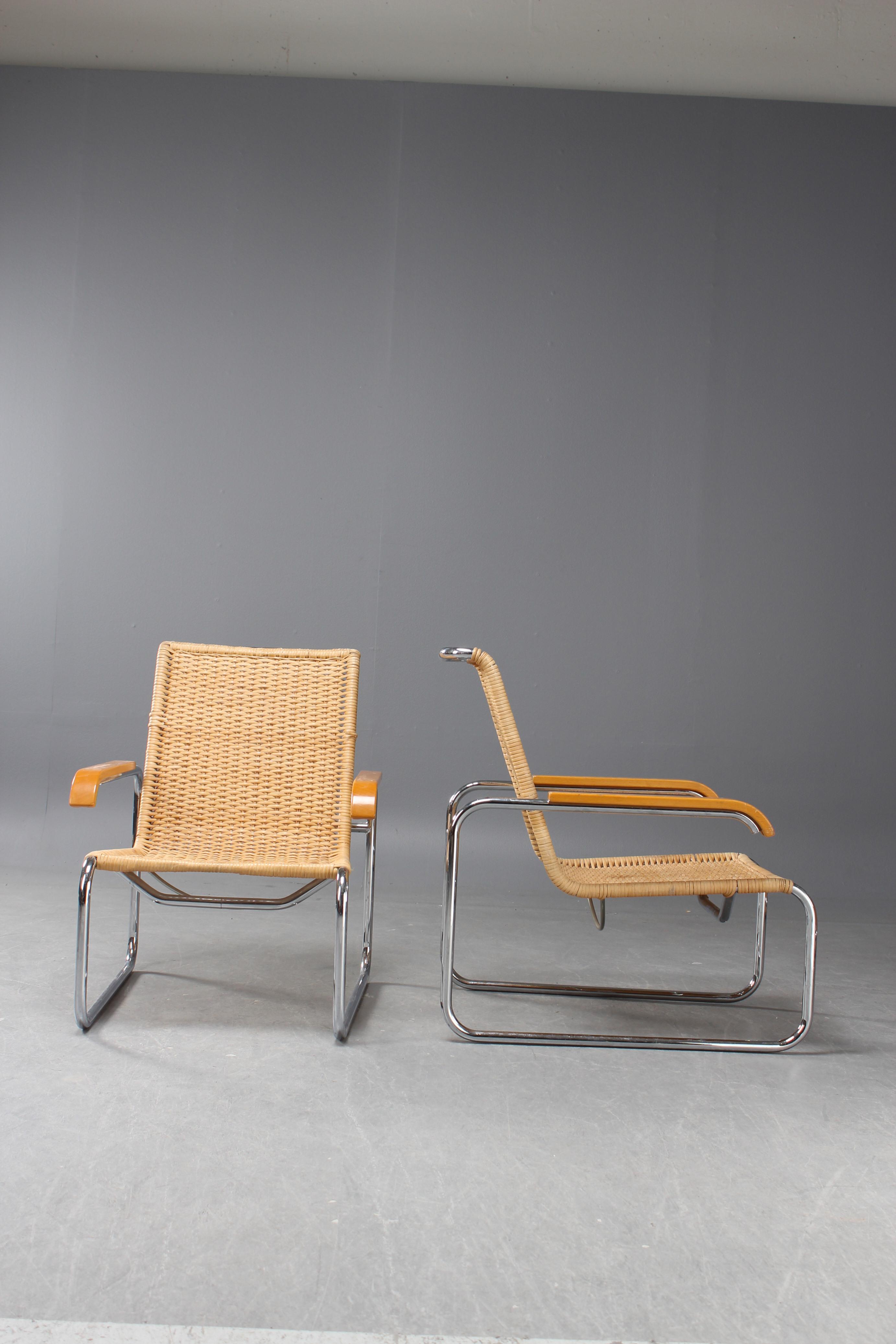 Marcel Breuer, Thonet, lounge chairs, B35, four (4)