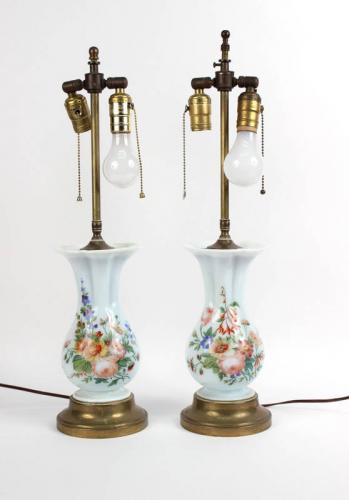 Pair of Hand-Painted Milk Glass Vases